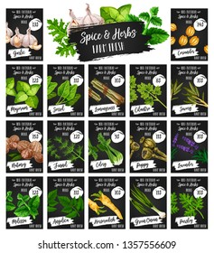 Spices and herbs farm market price menu, organic seasonings and herbal cooking flavoring. Vector garlic, coriander and marjoram, lemongrass spice and lavender herb, angelica and melissa condiment