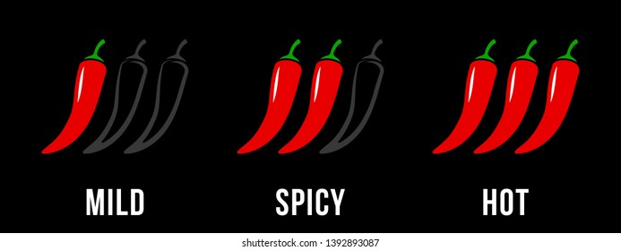 Spicy chili hot pepper, mild and extra hot level labels. Vector Asian spicy food and Mexican sauce chili pepper outline icons