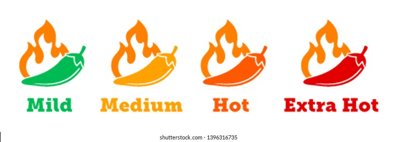 Spicy chili hot pepper vector icons. Spicy Mexican fast food menu or package level labels, mild, medium and extra hot red pepper fire flame