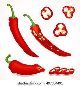 Spicy chili pepper isolated on a background. Whole, half and sliced red chilli. Vector illustration.