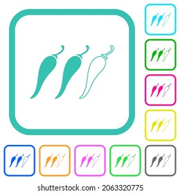 Spicy chili pepper level vivid colored flat icons in curved borders on white background