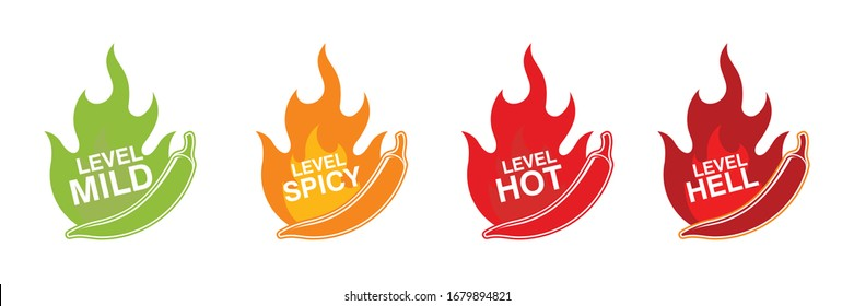 Spicy chili pepper strength level labels. Chili peppers indicator spicy,   mild, medium, hot and hell. Vector stock illustration.