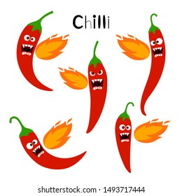 Spicy chilli fire. Hot chili red pepper belching flame vector illustration, cartoon different chillie vegetables characters isolated on white background