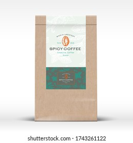 Spicy Coffee Craft Paper Bag Product Label. Abstract Vector Packaging Design Layout with Realistic Shadows. Modern Typography and Hand Drawn Beans and Spices Pattern. Isolated.