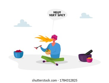 Spicy Dish Cooking. Male Character with Fire in Mouth Sit on Floor Eating Hot Spicy Food Holding Fork in Hand. Chilli or Jalapeno Pepper Meal. Mexican or Asian Cuisine. Cartoon Vector Illustration
