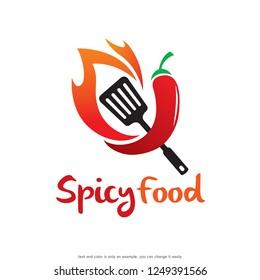 Spicy Food Restaurant Logo Template Design Vector, Emblem, Concept Design, Creative Symbol, Icon