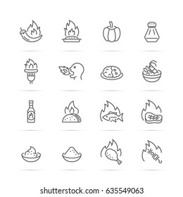 spicy food vector line icons, minimal pictogram design, editable stroke for any resolution