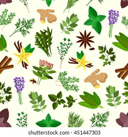 Spicy herbs and condiments seamless pattern with parsley, mint, rosemary, basil, dill and anise, thyme, oregano, cinnamon, ginger, bay leaves, vanilla, cloves, arugula, lavander, terragon and sage