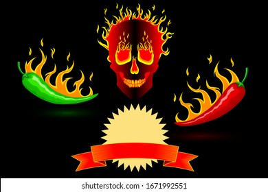 Spicy hot burning mexican red and green peppers in fire on a background of a burning fiery human skull. Black neutral background. Vector vertical orientation. For cooking, websites, blogs, advertising