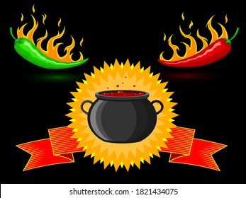 Spicy hot burning mexican red and green peppers in fire on a background of a cauldron with hot simmering Mexican dish and fire. Black neutral background. Vector. For cooking, websites, advertising