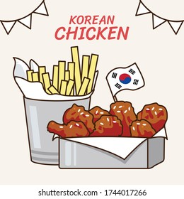 Spicy Korean fried chicken meal set: crispy wingstick Korea red hot sauce with potato fries. Traditional food icon vector illustration flat design drawing.