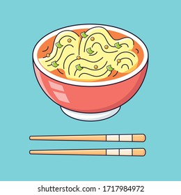 Spicy noodles soup or ramen bowl with chopsticks