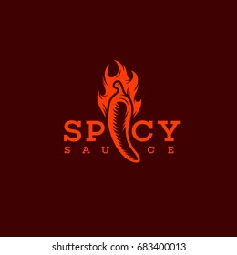 Spicy sauce logo template design with a chilli. Vector illustration.