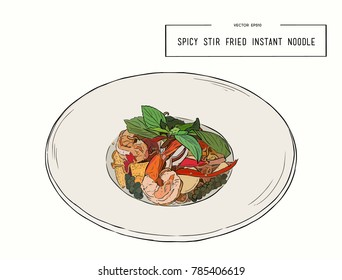 """spicy stir fried instant noodle and holy basil leaves combined with seafood. """"pad kee mao"""", sketch vector."""