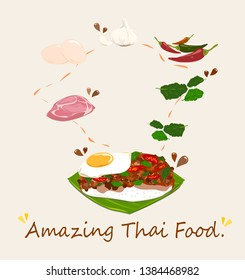 Spicy Thai basil with Pork and Egg (Pad Krapow Mhoo Sub) vector . it is a very delicious Thai food. Rice topped with stir-fried pork and basil leaves . street food in Thailand.