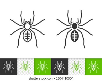 Spider black linear and silhouette icons. Thin line sign of insect. Tarantula outline pictogram isolated on white, color, transparent background. Vector Icon shape. Black widow simple symbol closeup