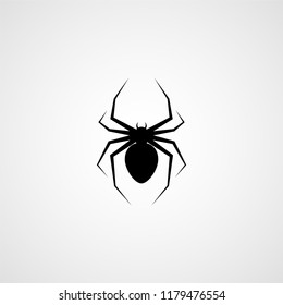 Spider black silhouette. Vector icon
