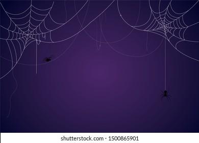 Araignée et fond d'écran en toile de fond. La peur du symbole d'halloween Isolé sur l'illustration vectorielle bleu et violet.