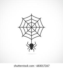 Spider and cobweb vector icon