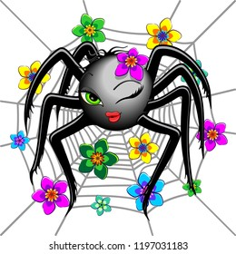 Spider Cute and Pretty Wink Emoji Face Character
