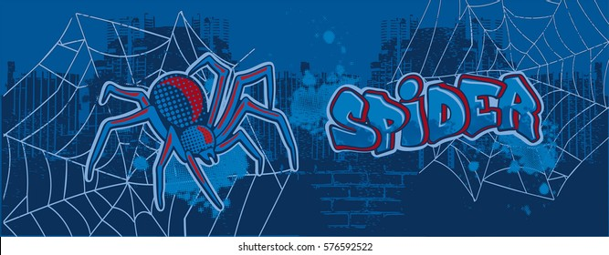 The spider graffiti on the background of the city