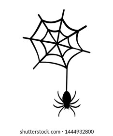 Spider hanging on spider web clipart. Vector illustration silhouette isolated on white background.