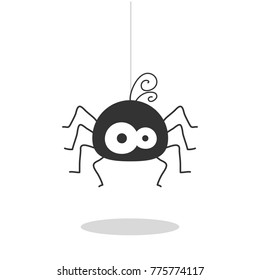 Spider hanging vector isolated on white background.