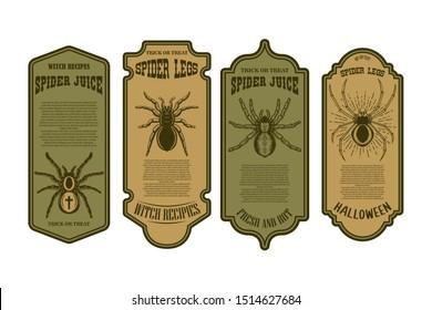 Spider juice. Spider legs. Halloween bottle label template. Design element for poster, card, banner, sign. Vector illustration