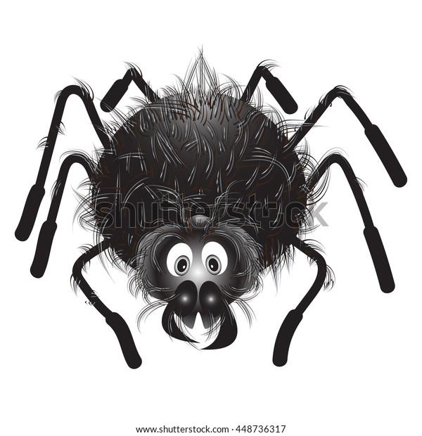 Spider Kawaiifunny Hairy Black Spider On Stock Vector Royalty Free 448736317