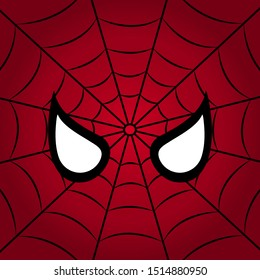 Spider man and web on red background. Vector illustration.