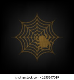 Spider on web illustration. Icon as grid of small orange light bulb in darkness. Illustration.