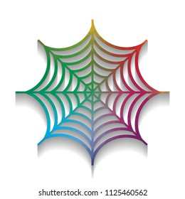 Spider on web illustration. Vector. Colorful icon with bright texture of mosaic with soft shadow on white background. Isolated.