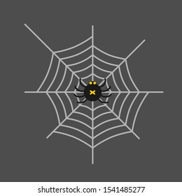Spider on the web. Insect. Vector illustration.