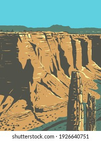Spider Rock Sandstone Spire in Canyon De Chelly National Monument on Navajo Tribal Lands in Arizona WPA Poster Art
