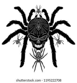 Spider Skull Tattoo Decorative and surreal Black and White Tarantula