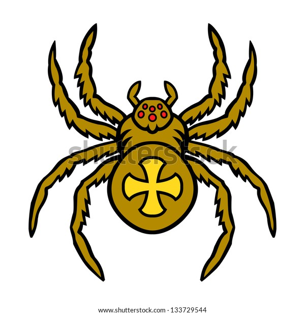 Spider. This is vector illustration ideal for a mascot and tattoo or T-shirt graphic.