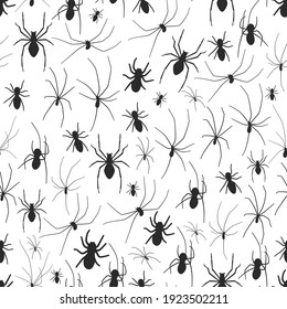 Spider vector seamless pattern on a white background.