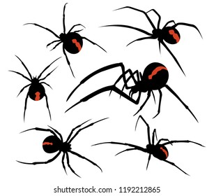 spider venomous silhouette illustration vector logo design template