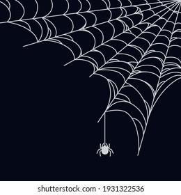 Spider web background for Halloween. Halloween cobweb corner. Outline vector illustration