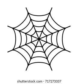 Spider web black silhouette icon on white background