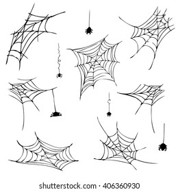 spider web black. vector illustration