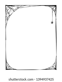 Spider Web Border have Suitable for Halloween and other spooky occasions, vintage line drawing or engraving illustration.