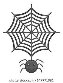 Spider and Web Cartoon Vector