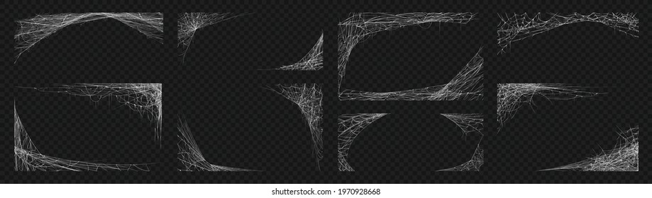 Spider web. Cobweb scary frames. Realistic arachnid net borders. Spooky Halloween background. Isolated gothic decorative elements set. Vector sticky tangled lines hanging in corners