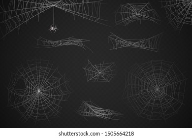 Spider web. Cobweb silhouette for halloween decoration, gossamer trap. Scary horror webs, spooky garden realistic web vector spiderwebs texture set