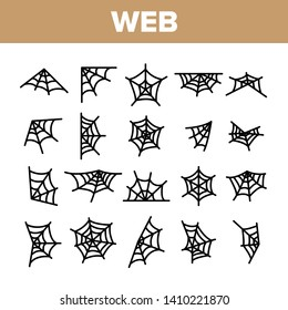 Spider Web, Cobweb Vector Linear Icons Set. SpiderWeb, Spider Trap For Insects Outline Symbols Pack. Halloween Spooky Decoration. Abandoned Place. Natural Thread Isolated Contour Illustrations