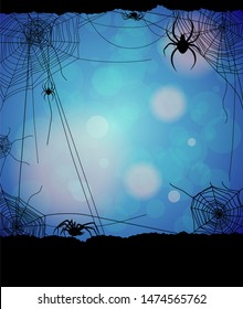 Spider and web elements on blue background. Hand drawn silhouette vector illustration. Spooky, scary, horror decor.
