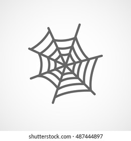 Spider Web Halloween Concept Flat Icon On White Background