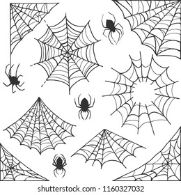 Spider web Halloween symbol. Cobweb decoration elements collection. Halloween cobweb vector frame and borders with spider for scary design