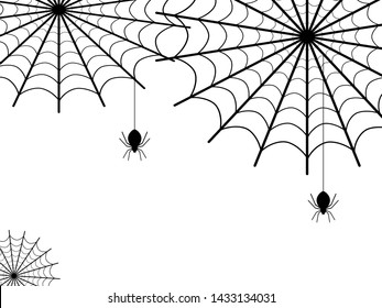 Spider web and little spider on a white background